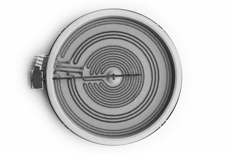 在白色隔绝的陶瓷烹饪器材加热器装置 厨具 图库摄影