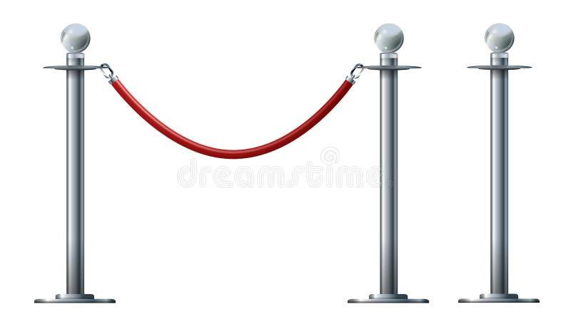 在白色隔绝的障碍绳索 银色豪华VIP概念3d回报 皇族释放例证