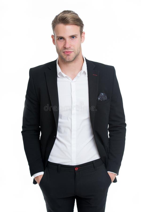 在白色隔绝的雄心勃勃的商人 在正式衣服的雄心勃勃的商人 所有为雄心勃勃的商人是可能的 库存图片