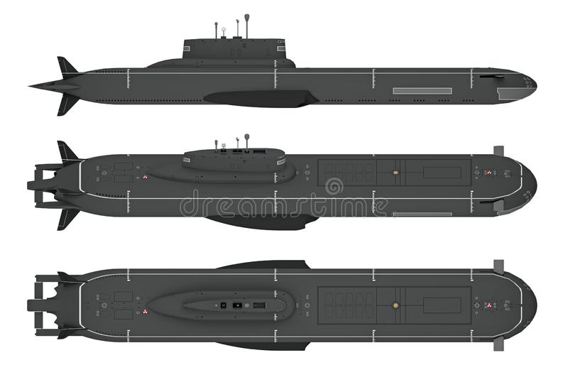 在白色隔绝的顶面和侧视图潜水艇 向量例证