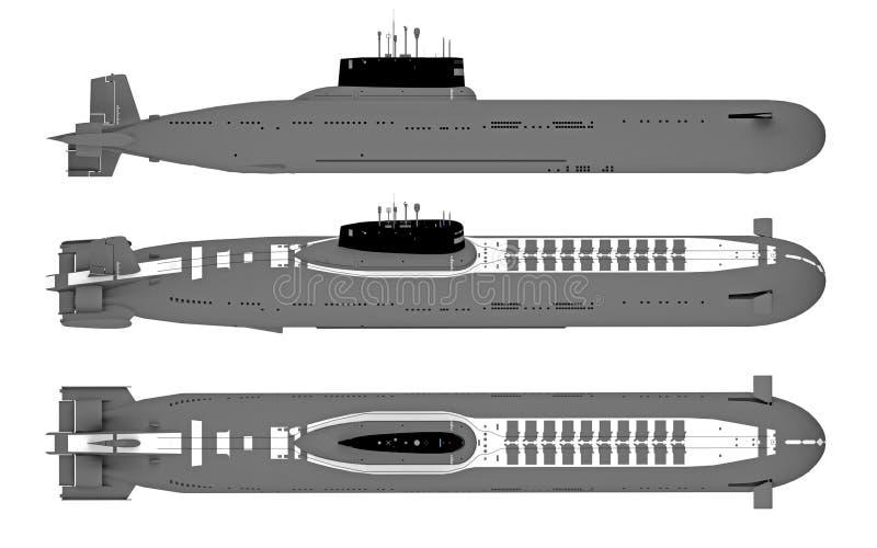 在白色隔绝的顶面和侧视图潜水艇 皇族释放例证