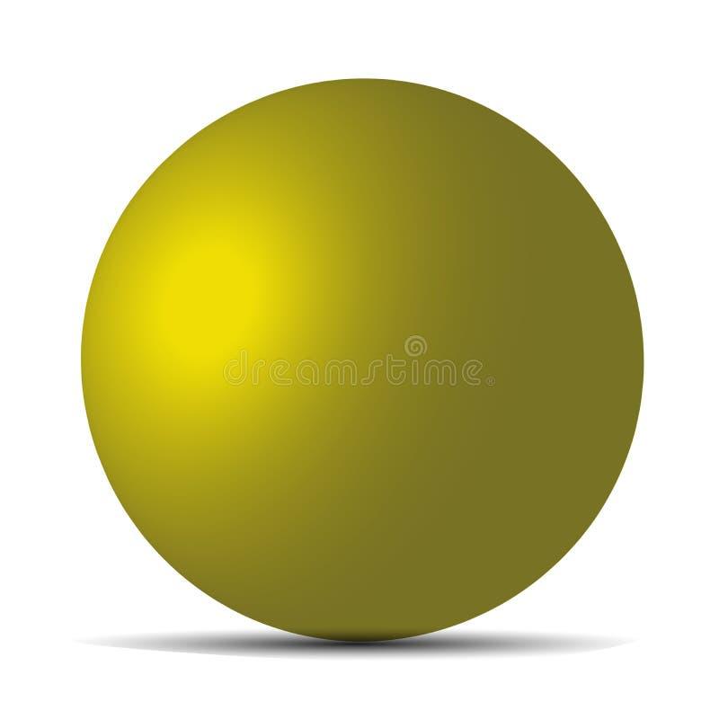 在白色隔绝的黄色现实表面无光泽的球形 您设计新例证自然向量的水 10 eps 向量例证