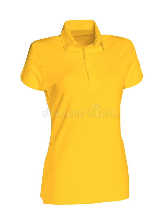 在白色隔绝的黄色马球T恤杉 免版税图库摄影