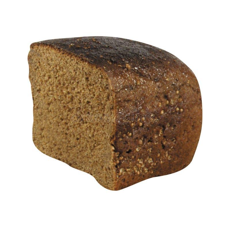 在白色隔绝的黑麦面包 库存照片
