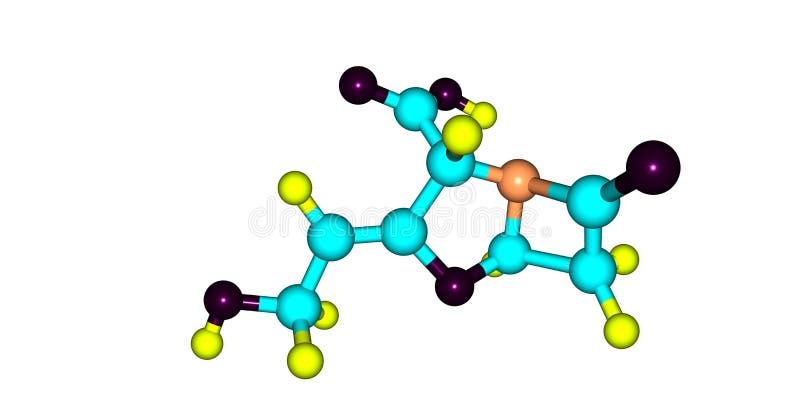 在白色隔绝的Clavulanic酸分子结构 向量例证