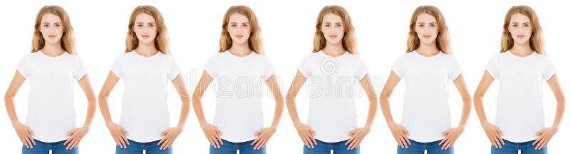 在白色隔绝的T恤杉集合的许多妇女,T恤杉的女孩 库存图片