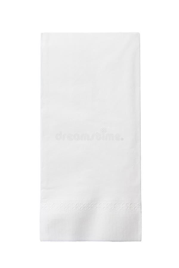 在白色隔绝的一块白皮书餐巾 免版税库存照片