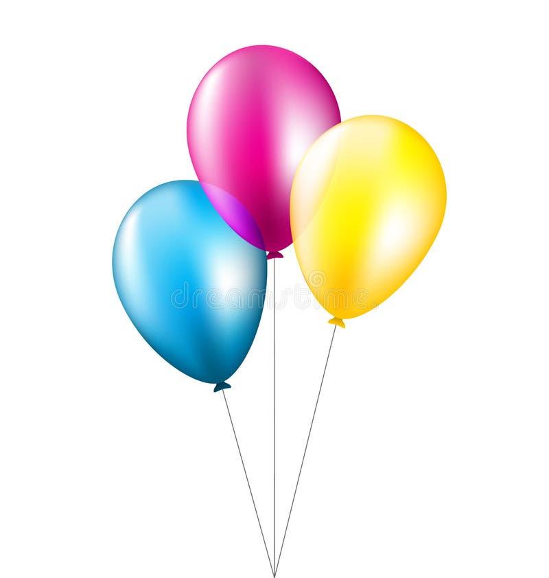 在白色隔绝的三个气球 向量例证