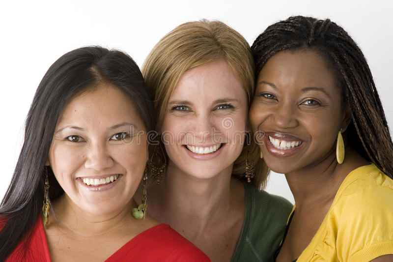 在白色隔绝的不同的小组妇女 库存照片
