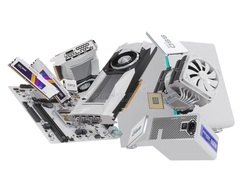 在白色隔绝的个人计算机硬件组分 3d翻译 皇族释放例证