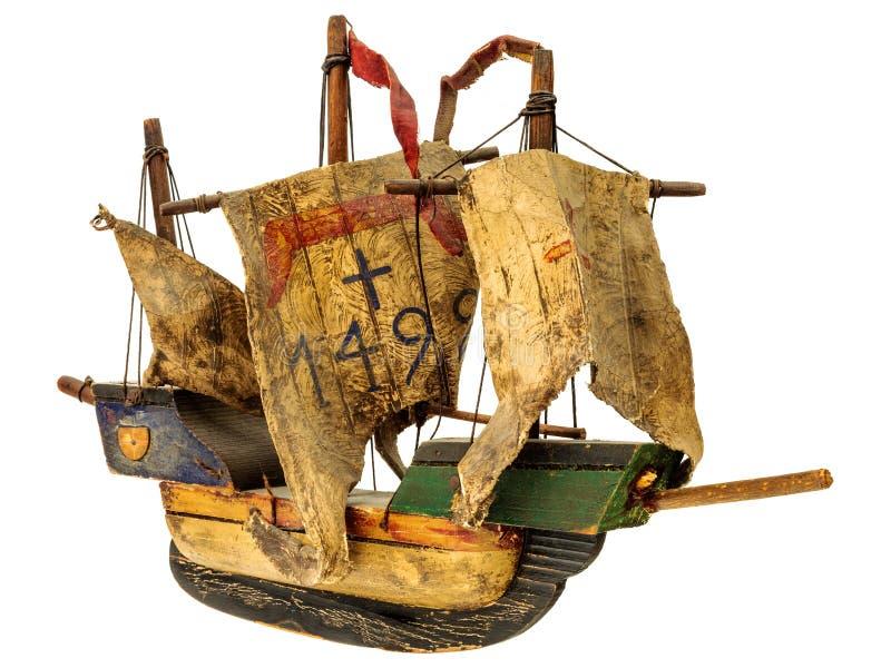 在白色隔绝的中世纪sailship模型 免版税库存图片