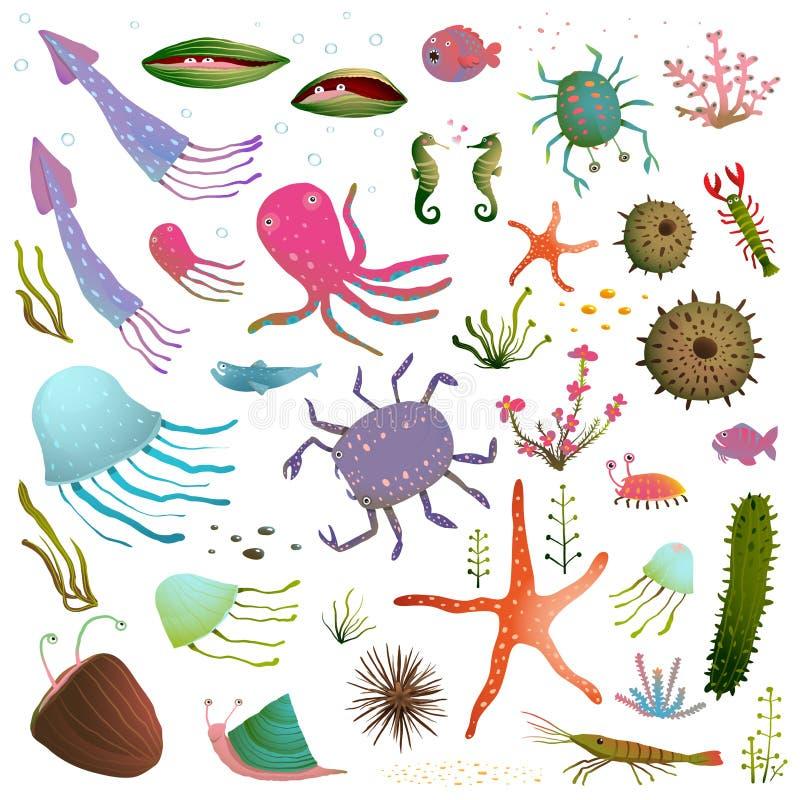 Download 在白色隔绝的五颜六色的海洋生活动物 向量例证. 插画 包括有 生活, 动物区系, 螃蟹, 查出, 意志薄弱的人 - 62532918