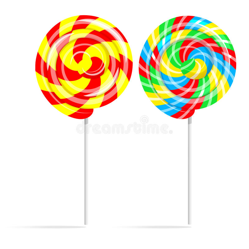在白色隔绝的五颜六色的漩涡棒棒糖集合 皇族释放例证