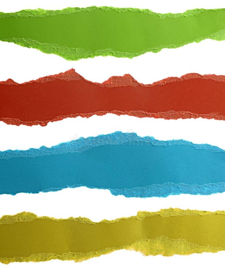 在白色隔绝的五颜六色的被撕毁的纸 免版税库存照片
