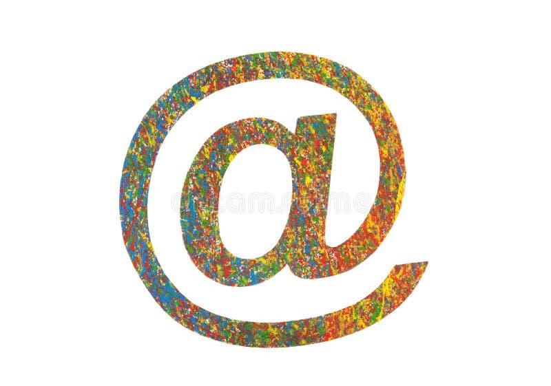 在白色隔绝的五颜六色的被绘的电子邮件标志 向量例证