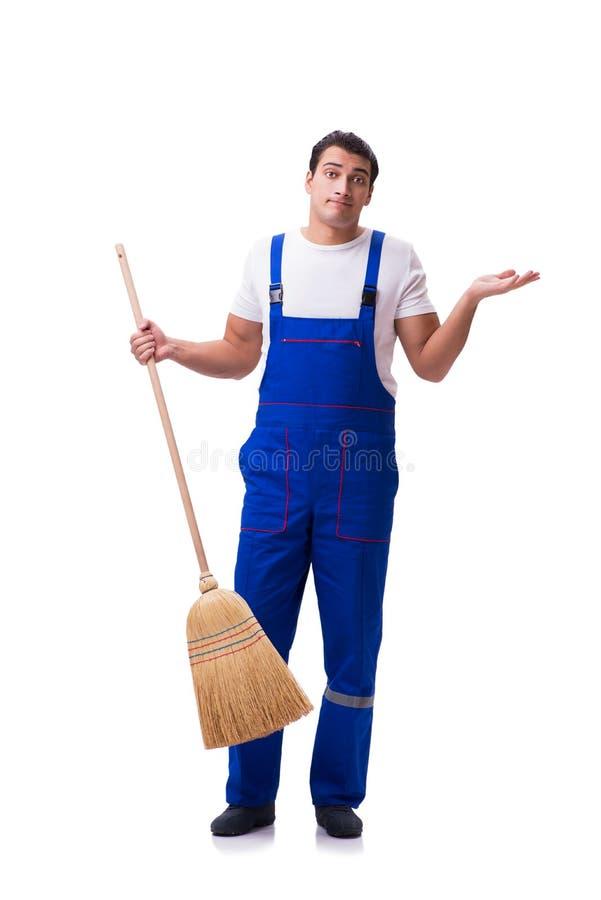 在白色隔绝的人清洁地板 库存图片