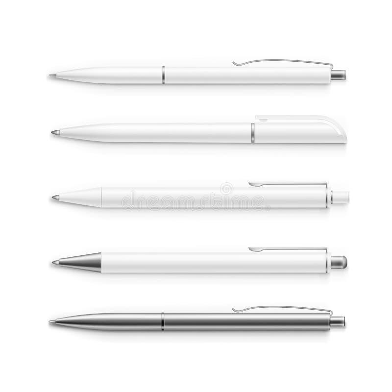 在白色隔绝的传染媒介套空白的笔 库存例证