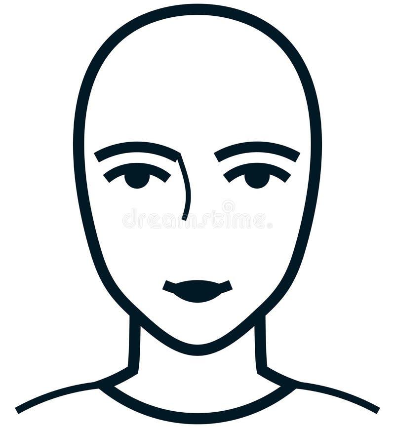 在白色隔绝的传染媒介女性面孔例证 皇族释放例证