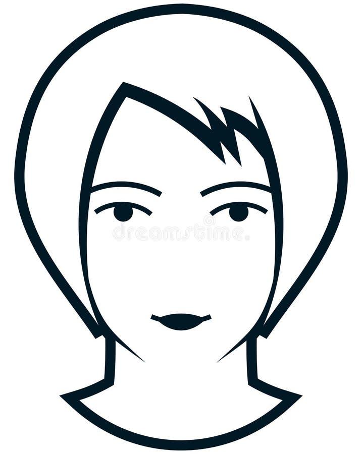 在白色隔绝的传染媒介女性顶头例证 皇族释放例证