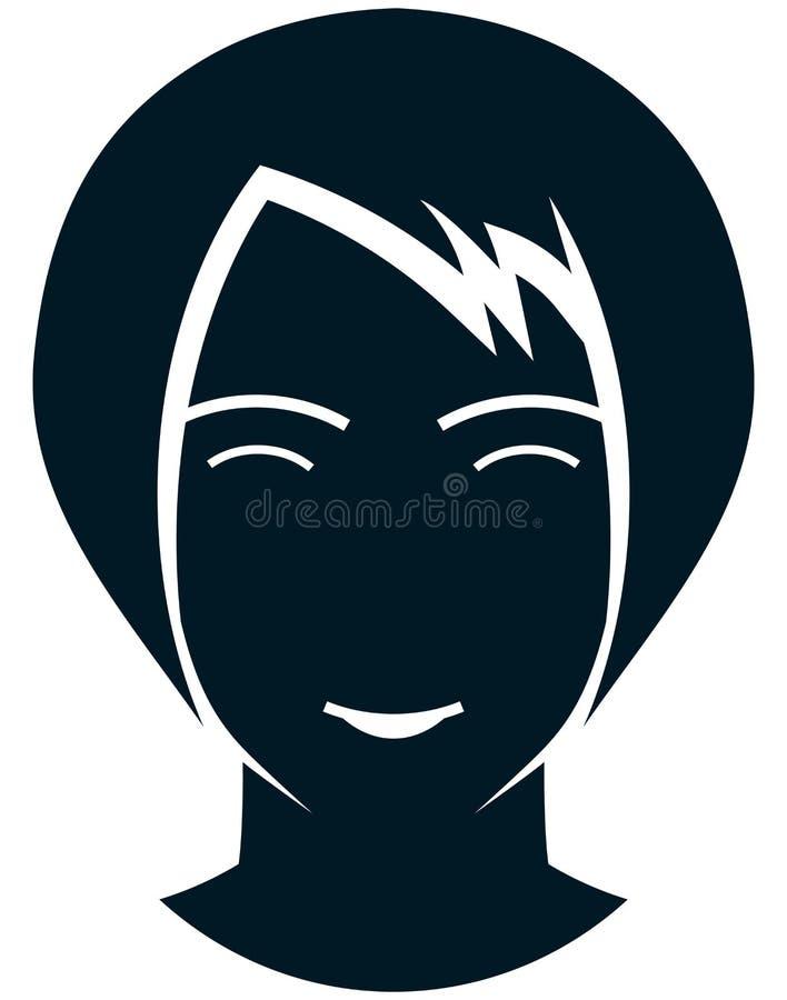 在白色隔绝的传染媒介微笑的女孩例证 库存例证