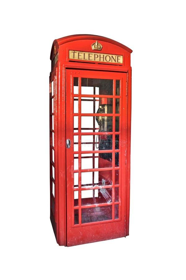 在白色隔绝的伦敦红色电话亭 库存图片
