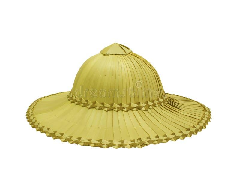 农夫帽子_在白色隔绝的农夫的棕榈帽子