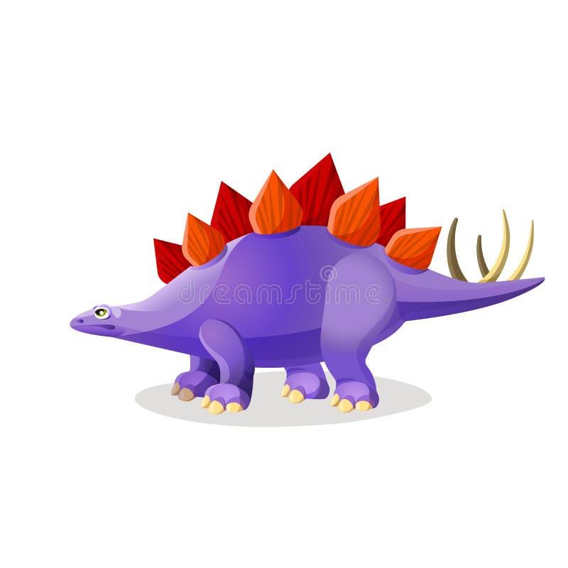 在白色隔绝的剑龙 装甲的恐龙类  向量例证
