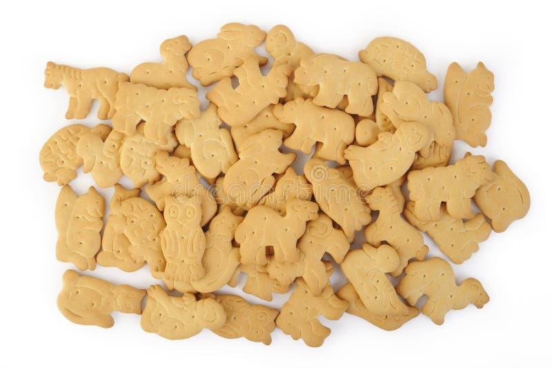 在白色隔绝的动物形状的薄脆饼干 免版税库存照片