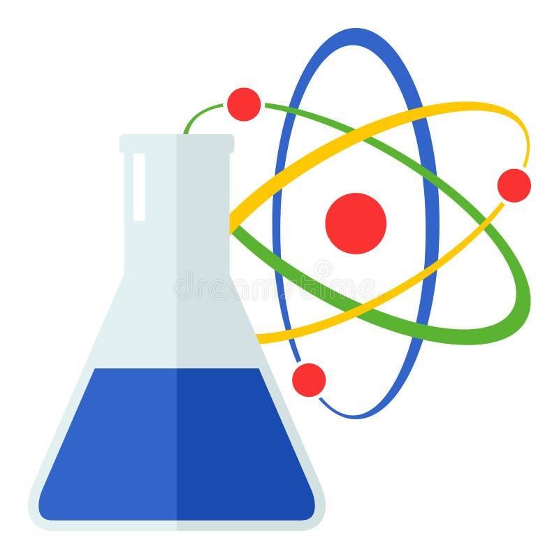 在白色隔绝的原子和小玻璃瓶平的象 向量例证