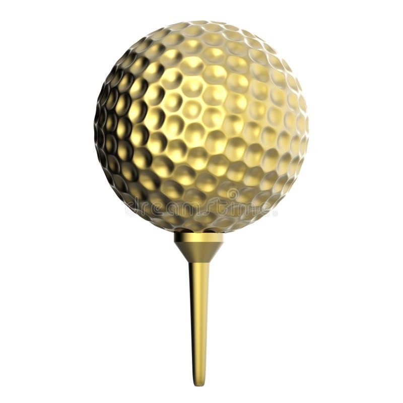 在白色隔绝的发球区域的金黄高尔夫球 库存图片