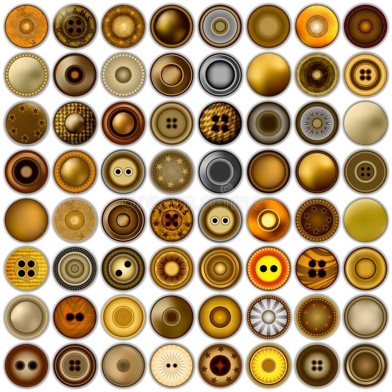 在白色隔绝的各种各样的缝合的按钮 兆套现实金属圆的按钮集合 3d例证 向量 皇族释放例证