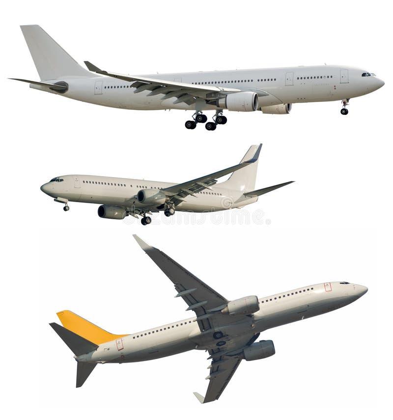 在白色隔绝的喷气式客机 库存图片