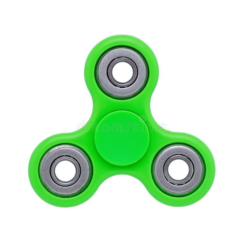 在白色隔绝的坐立不安手指锭床工人绿色反重音玩具 库存照片