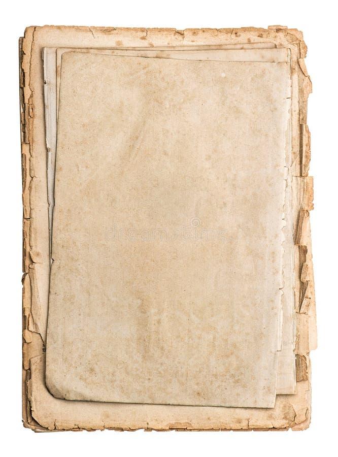 在白色隔绝的堆老纸 免版税库存照片