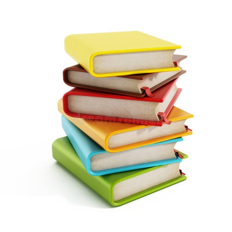 在白色隔绝的多彩多姿的书架 免版税库存图片
