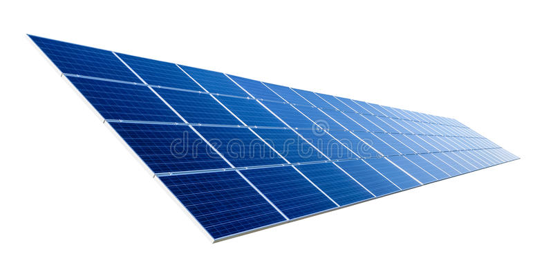 在白色隔绝的太阳电池板 库存照片