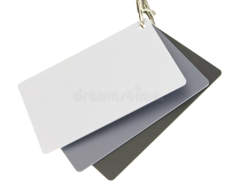 在白色隔绝的套三颜色参考卡片 免版税库存照片