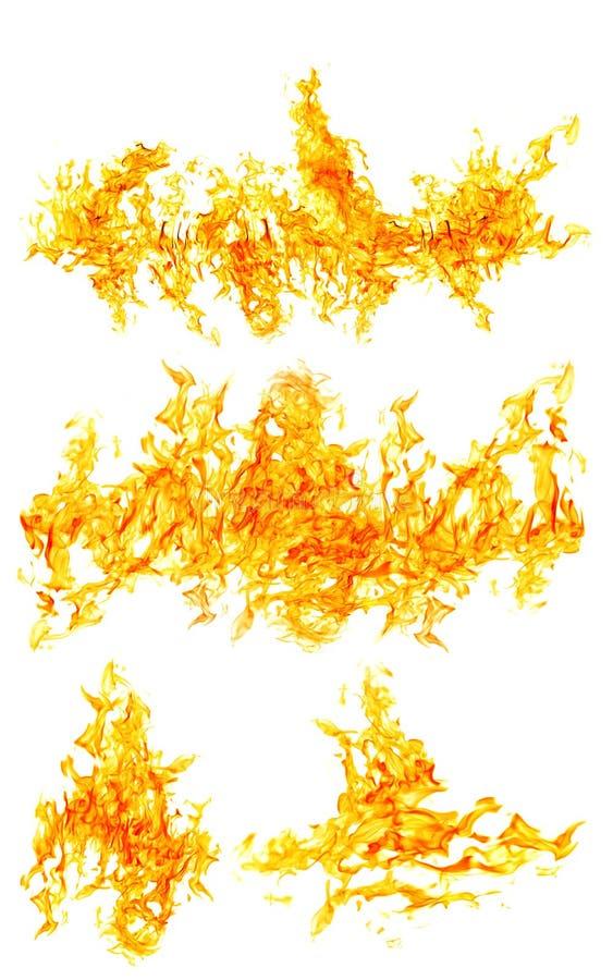 在白色隔绝的套大橙色火焰 免版税库存图片