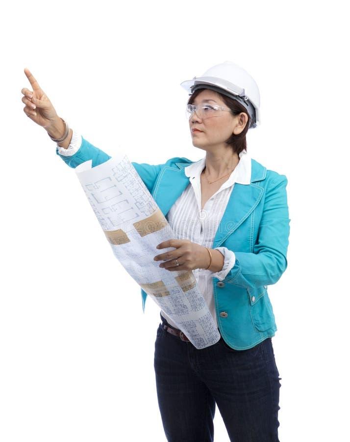 在白色隔绝的女性建筑师 库存照片