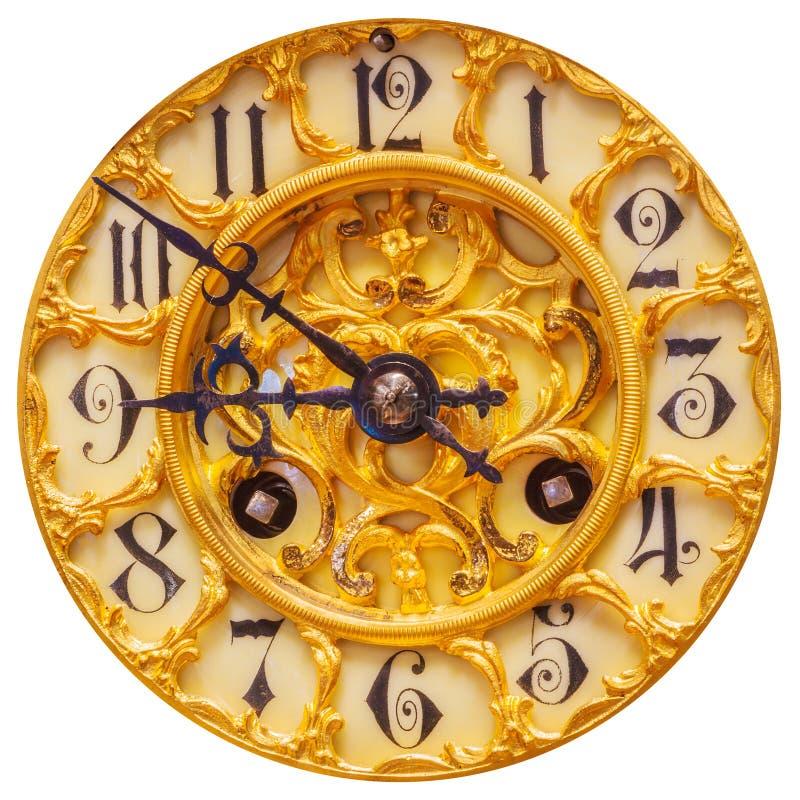 在白色隔绝的富有的装饰的金黄时钟表盘 免版税库存图片