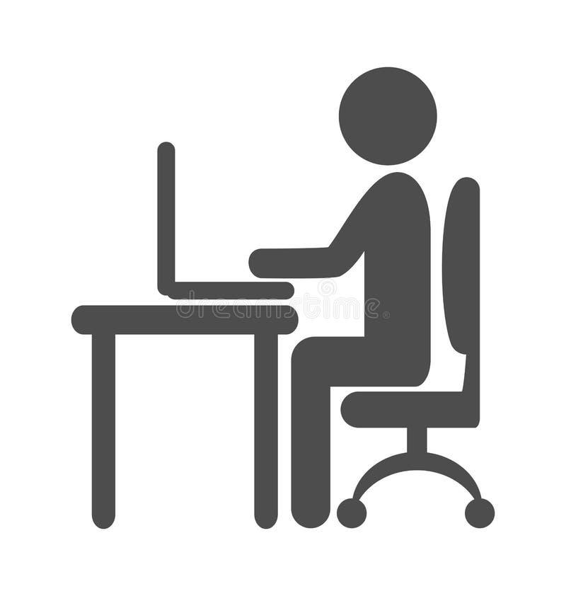 在白色隔绝的平的计算机工作图表象 向量例证