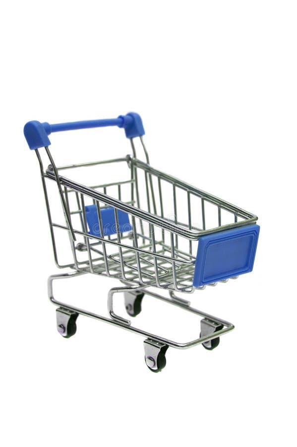在白色隔绝的微型蓝色台车超级市场 库存例证