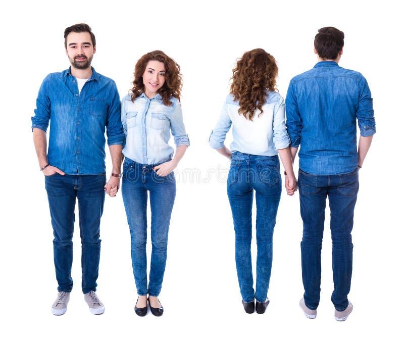 在白色隔绝的愉快的夫妇前面和后面看法  库存照片