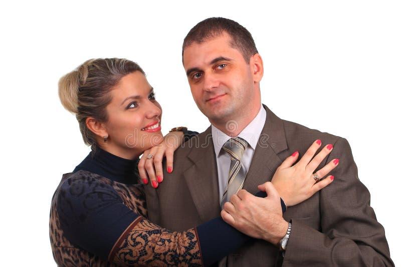 在白色隔绝的愉快的夫妇 免版税库存图片
