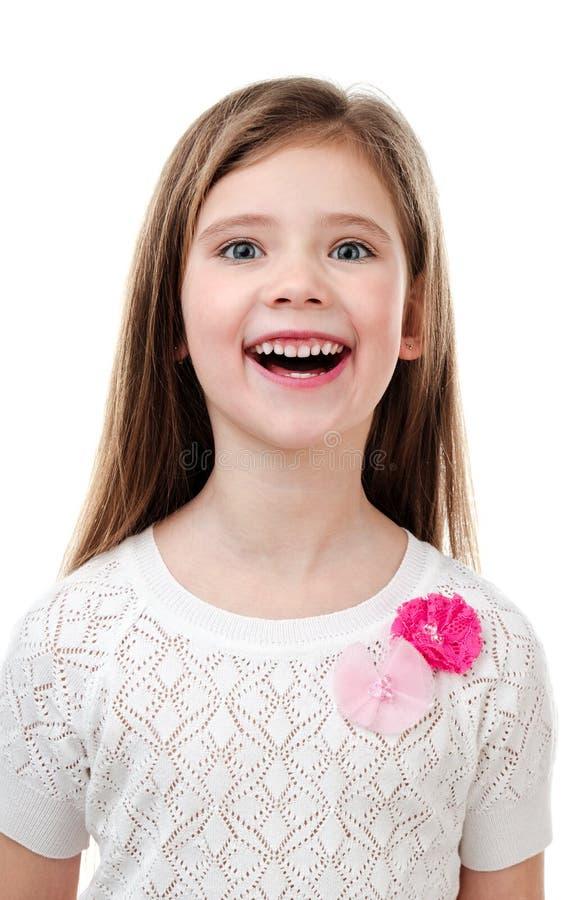 在白色隔绝的愉快的逗人喜爱的小女孩 免版税库存图片