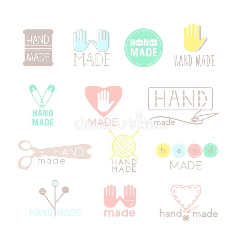 在白色隔绝的手工制造五颜六色的象 套手工制造标签、徽章和商标设计的 手工制造车间商标集合 向量例证