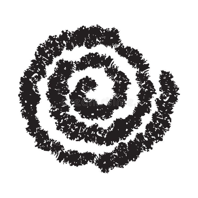 在白色隔绝的手画螺旋 皇族释放例证