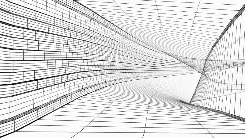 在白色隔绝的抽象建筑学wireframe结构3D例证 皇族释放例证