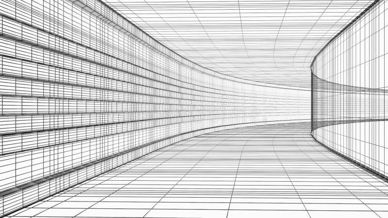 在白色隔绝的抽象建筑学wireframe结构3D例证 向量例证