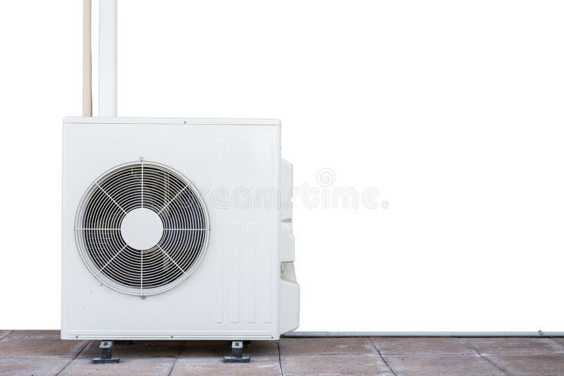 在白色隔绝的新的白色空调压缩机 被保存的w 库存照片